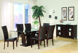 Daisy Dining Room Set with Pedestal Table and Brown Chairs