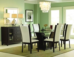 Daisy Dining Room Set with Pedestal Table and White Chairs