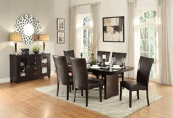 Daisy Dining Room Set with Trestle Table and Brown Chairs