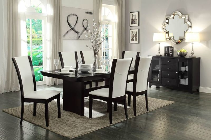 Daisy Dining Room Set with Trestle Table and White Chairs