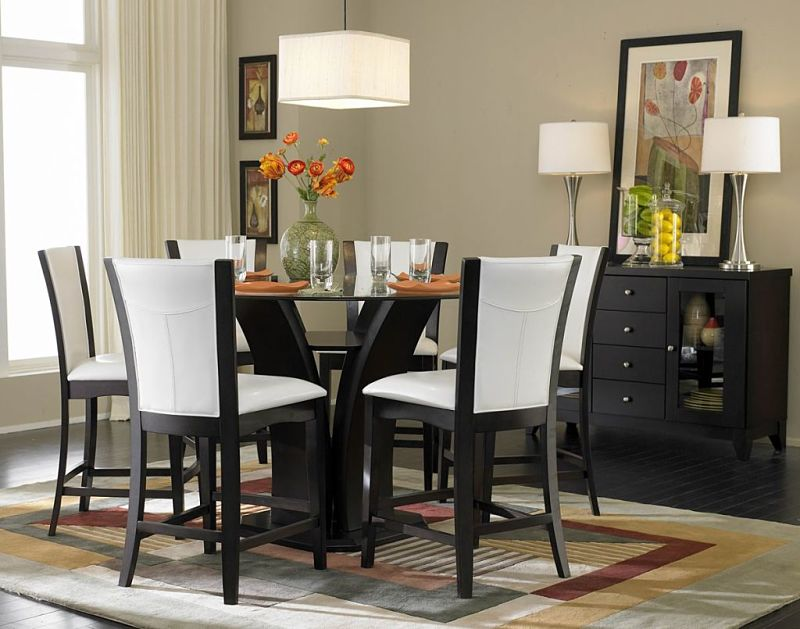 Daisy Counter Height Dining Set with White Chairs