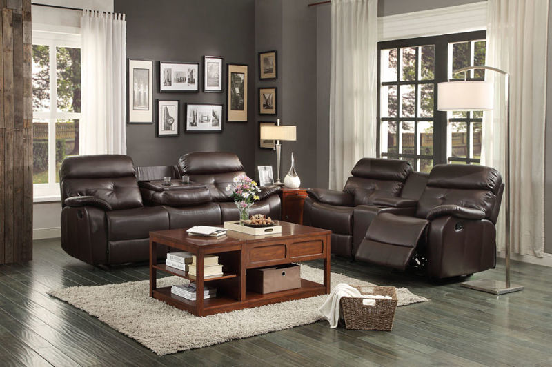 Evana Reclining Leather Living Room Set