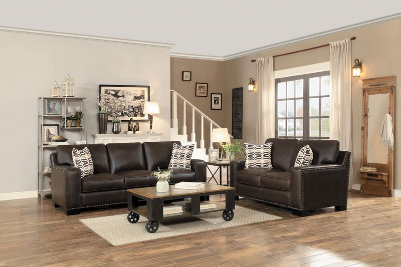 Gowan Living Room Set in Brown Leatherette