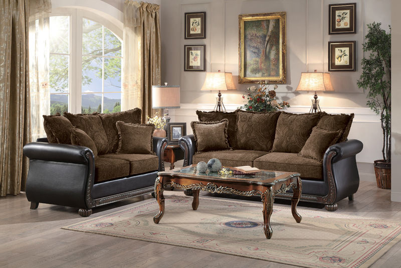 Grand Isle Living Room Set in Brown