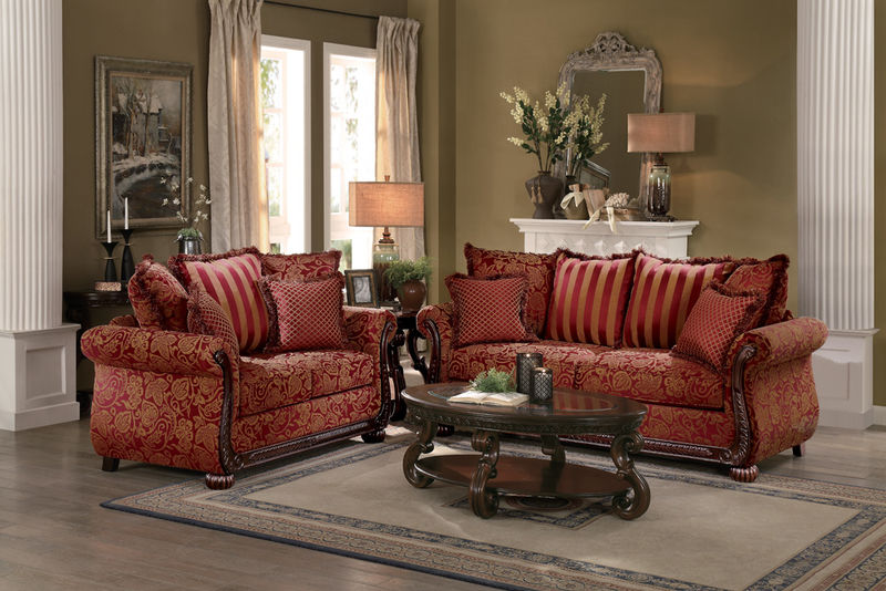 Grand Isle Living Room Set in Red