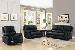 Greeley Reclining Leather Living Room Set in Black