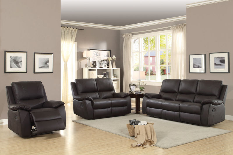 Greeley Reclining Leather Living Room Set in Brown