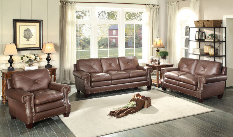 Greermont Leather Living Room Set