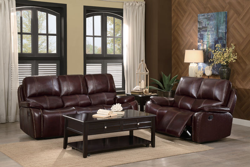 Haughton Reclining Leather Living Room Set