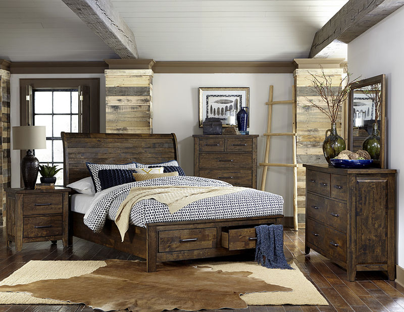 Jerrick Rustic Bedroom Set with Storage Bed