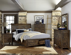 Jerrick Rustic Bedroom Set with Storage Bed