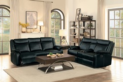 Jude Reclining Living Room Set in Black