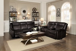 Jude Reclining Living Room Set in Brown