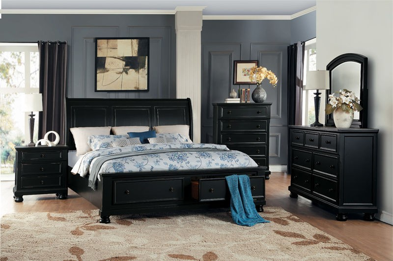 Laurelin Bedroom Set with Storage Bed in Black