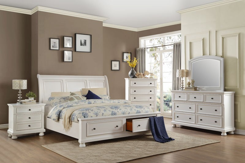 Laurelin Bedroom Set with Storage Bed in White