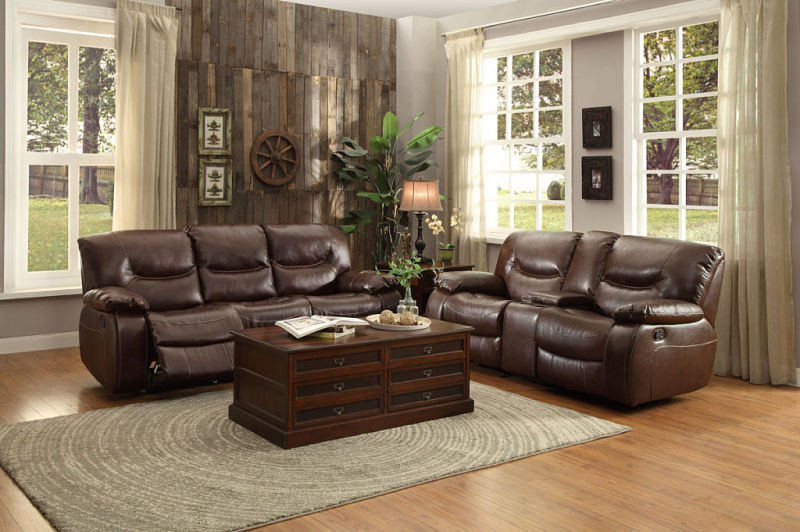 Leetown Reclining Leather Living Room Set