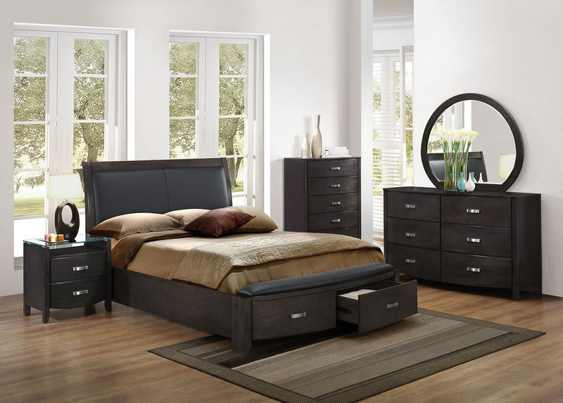 Lyric Bedroom Set With Storage Bed In Grey