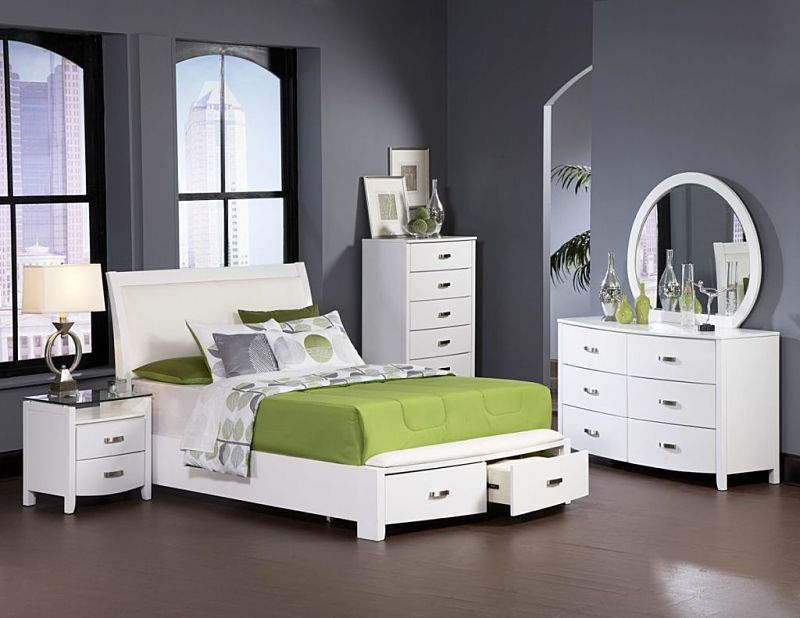 Lyric Bedroom Set with Storage Bed in White