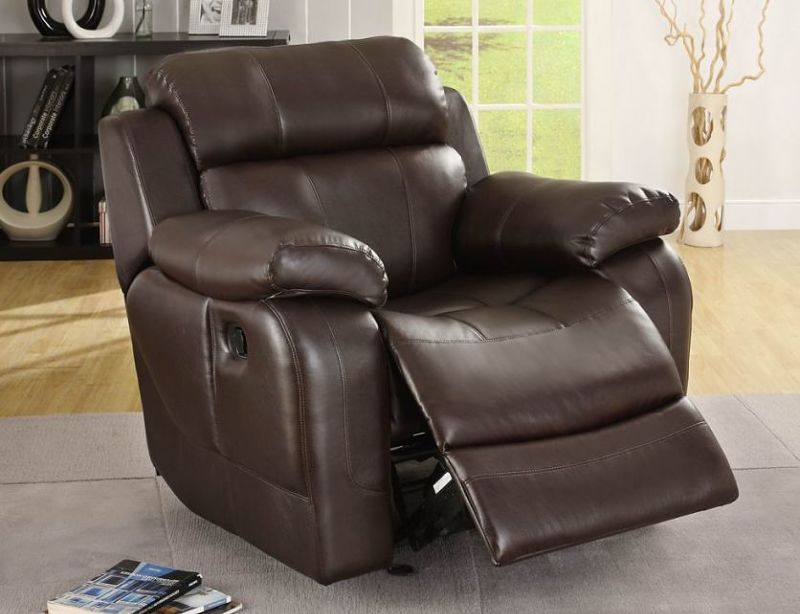 Dallas Designer Furniture Marille Reclining Leather Living Room Set In Brown