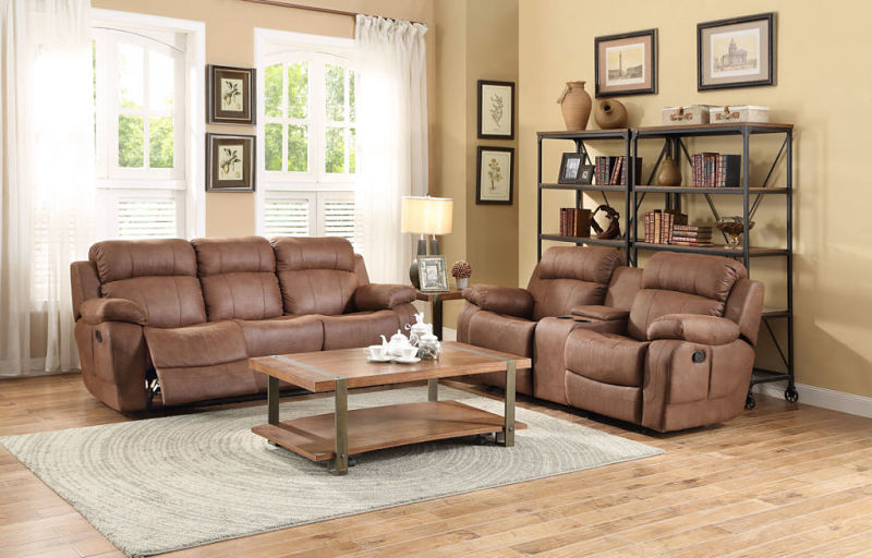 Marille Reclining Living Room Set in Brown