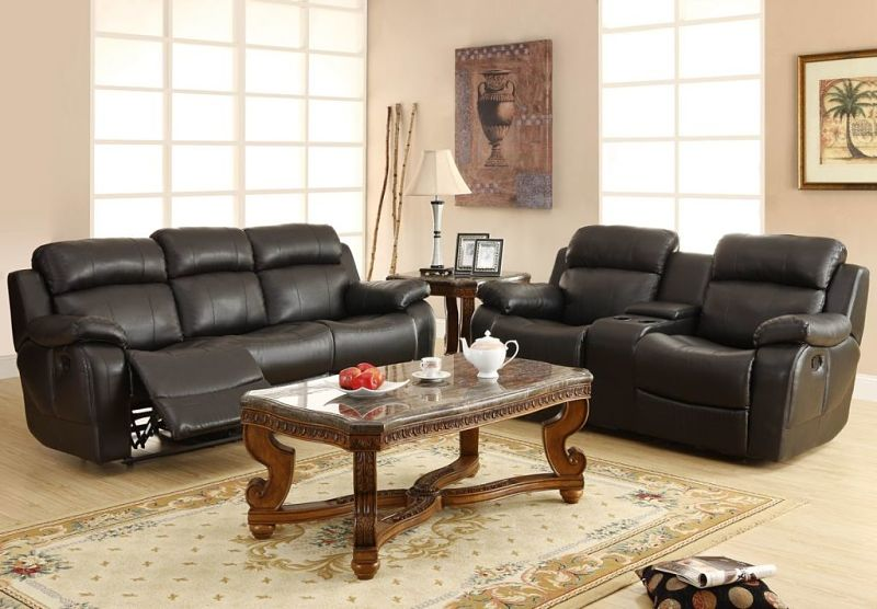 Marille Reclining Leather Living Room Set in Black
