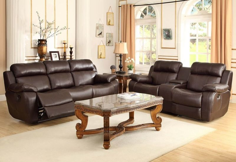 Marille Reclining Leather Living Room Set in Brown