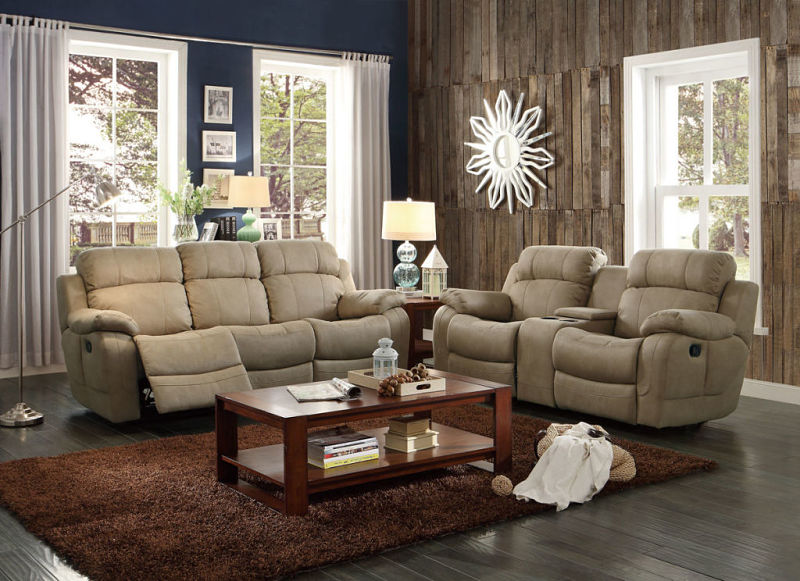 Marille Reclining Living Room Set in Taupe