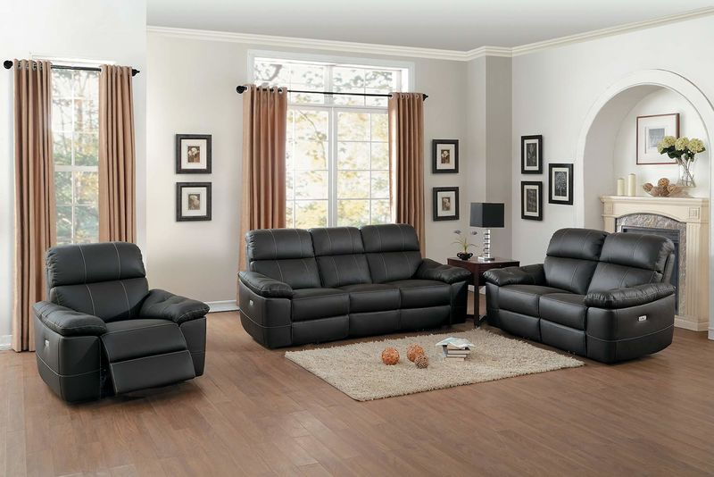 Nicasio Reclining Leather Living Room Set in Brown