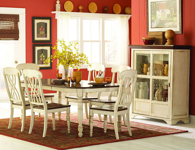 Ohana Dining Room Set in Cherry/White