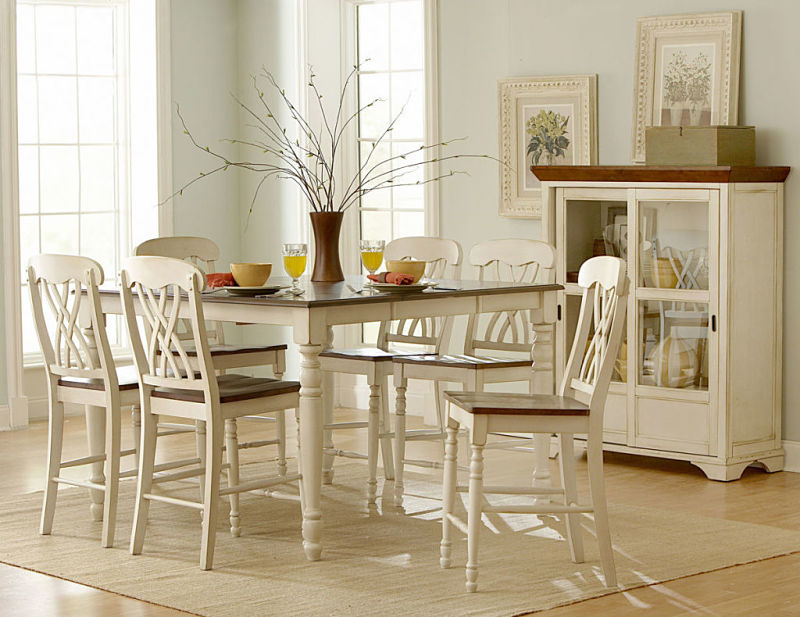 Ohana Counter Height Dining Room Set in Cherry/White