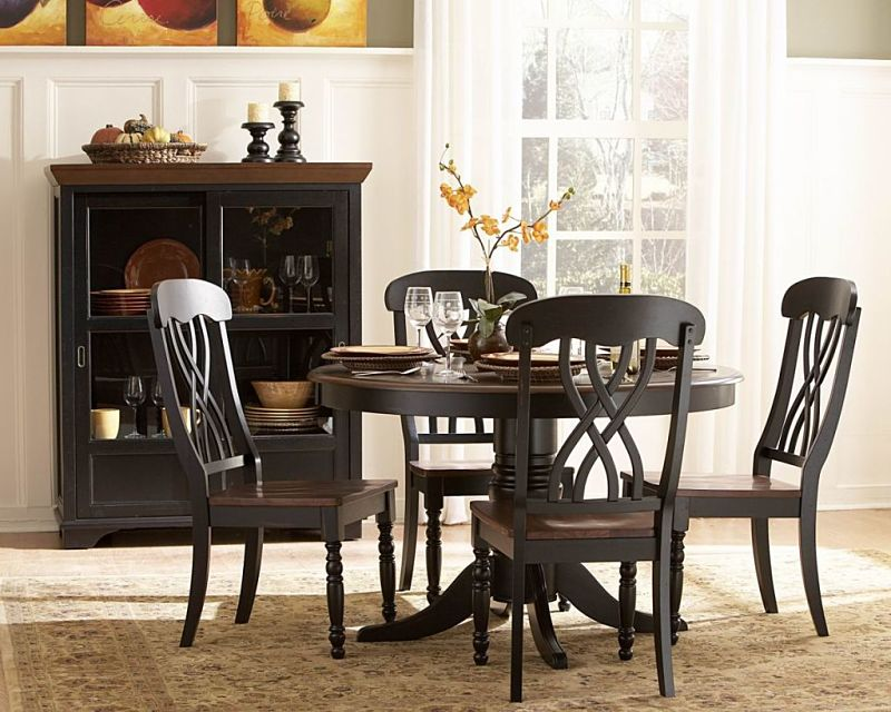 Ohana Round Dining Room Set in Cherry/Black