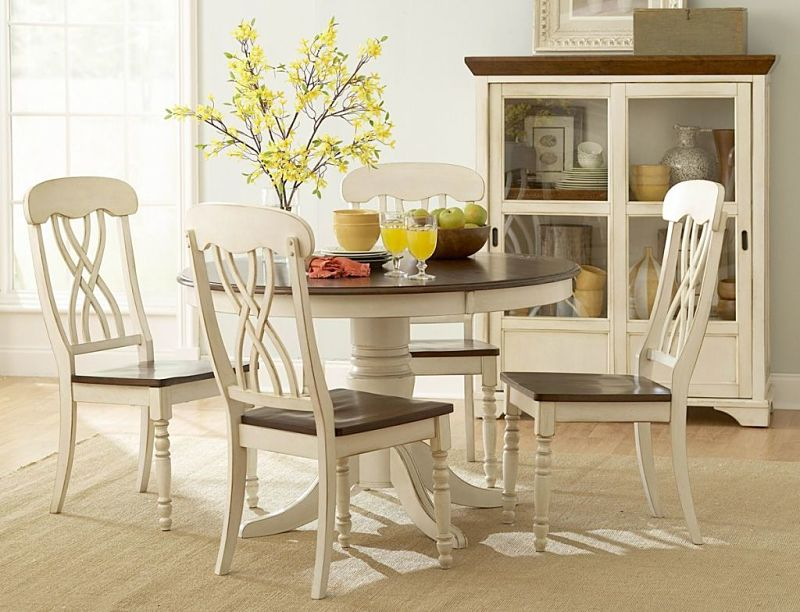 Ohana Round Dining Room Set in Cherry/White