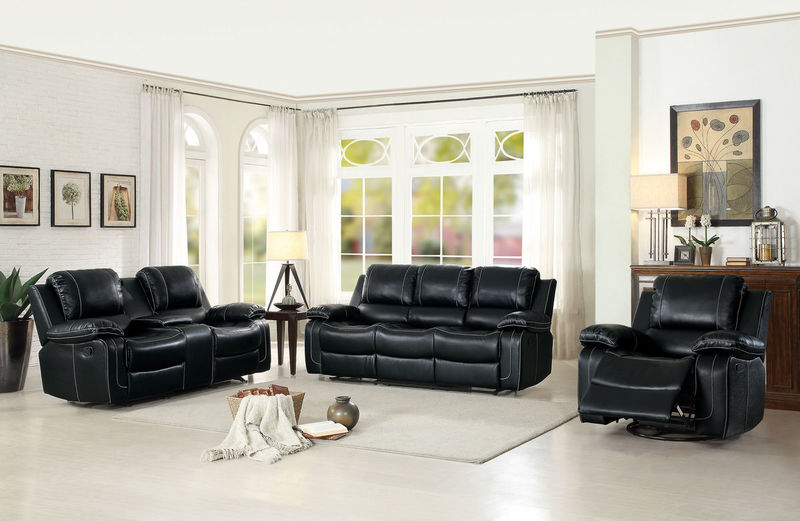 Oriole Reclining Living Room Set in Black