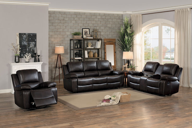 Oriole Reclining Living Room Set in Brown