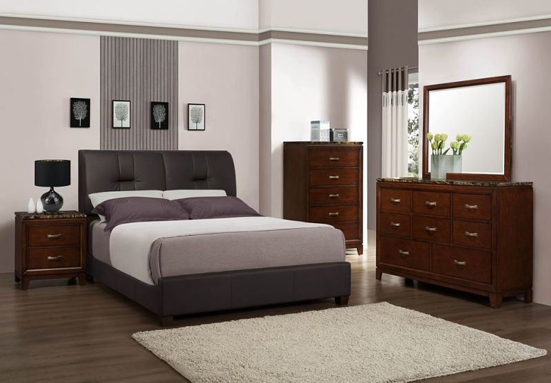 Ottowa Bedroom Set with Leatherette Upholstered Bed