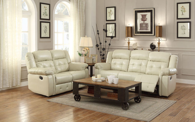 Palco Reclining Living Room Set in Ivory