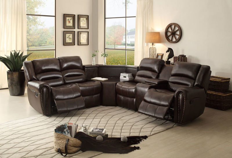 Palmyra Reclining Leather Sectional with Wedge