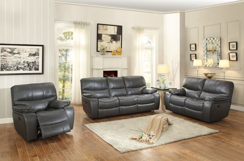 Pecos Reclining Living Room Set in Grey with Power Motion