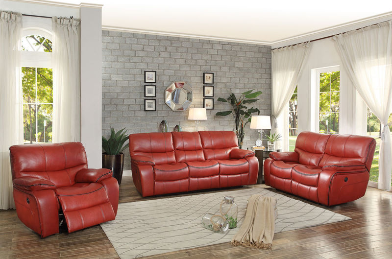 Pecos Reclining Living Room Set in Red with Power Motion