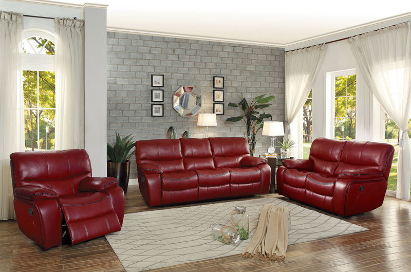 Pecos Reclining Living Room Set in Red