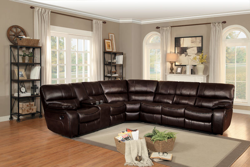 Pecos Reclining Sectional in Brown