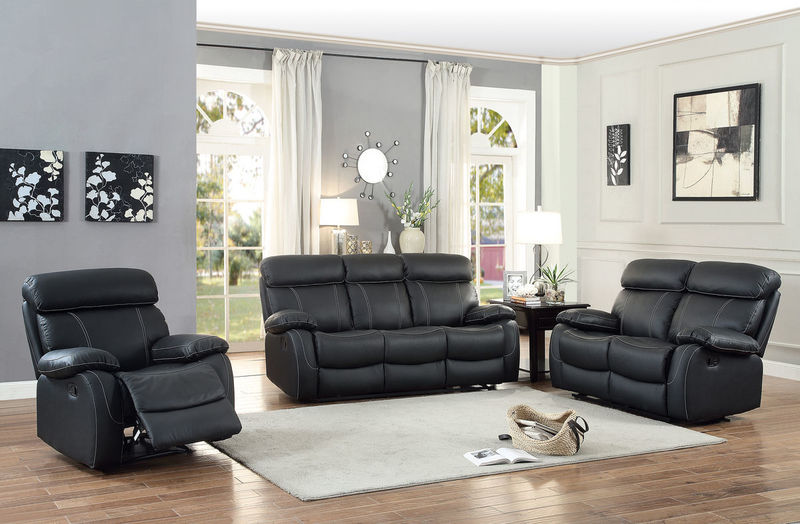 Pendu Reclining Leather Living Room Set in Black