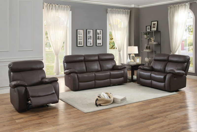 Pendu Reclining Leather Living Room Set in Brown