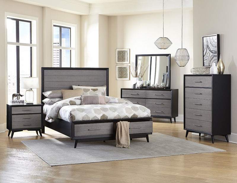 Raku Bedroom Set with Storage Bed in Gray