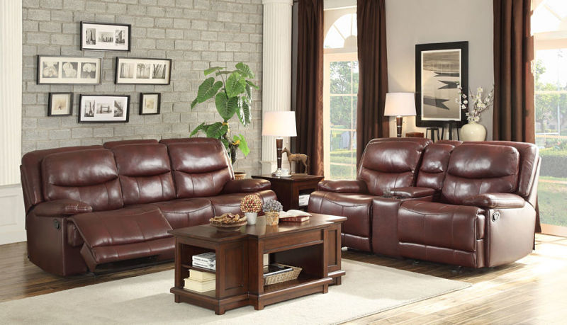 Risco Reclining Living Room Set in Burgundy