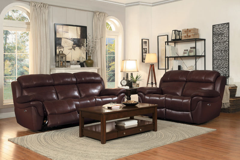 Spruce Reclining Leather Living Room Set with Power Motion