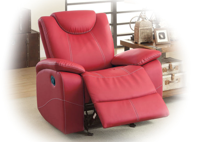 Talbot Reclining Leather Living Room Set in Red
