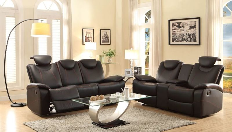 Talbot Reclining Leather Living Room Set in Black