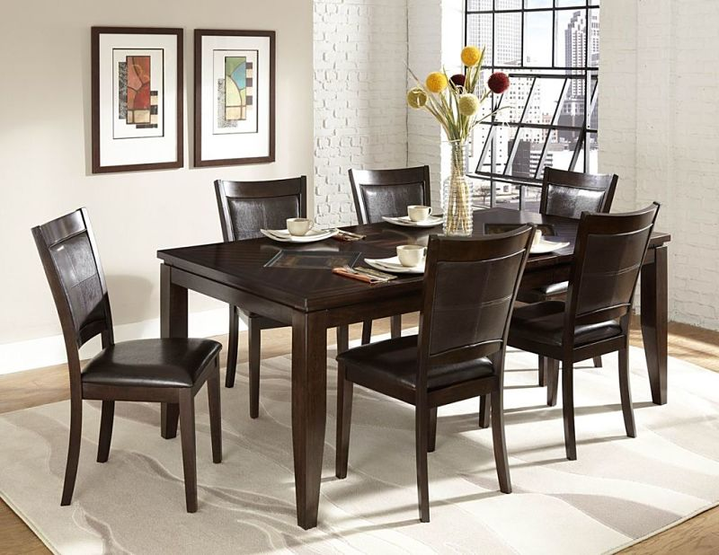 Vincent Dining Room Set with Glass Overlay