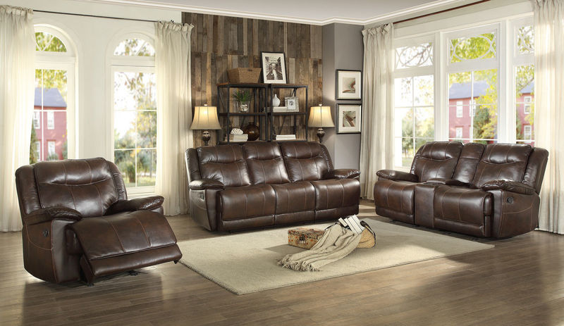 Wasola Reclining Living Room Set in Dark Brown